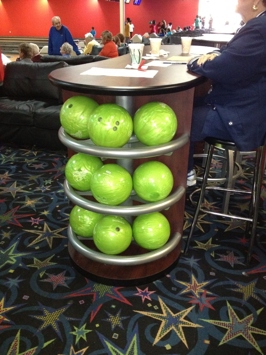 Green Bowling Ball Rack